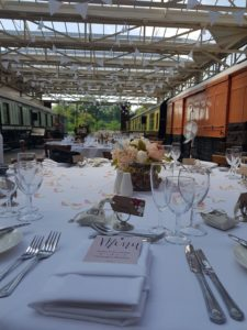 Buckinghamshire Railway Centre, Wedding Reception set up in Restored Station - Hart's Food & Events -Wedding Venue, Food, Drink, Wedding Reception